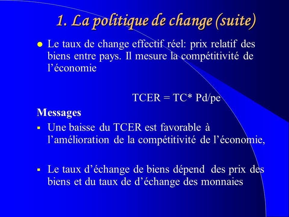 1. La politique de change (suite) l Le taux de change effectif réel: prix relatif des biens entre pays. Il mesure la compétitivité de léconomie TCER =