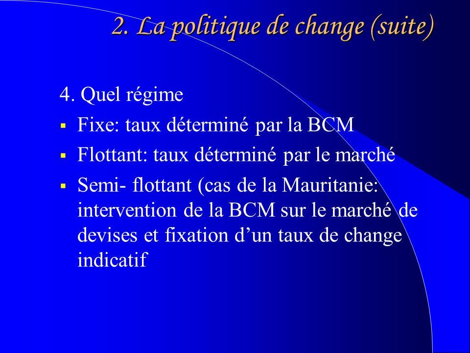 2. La politique de change (suite) 4.