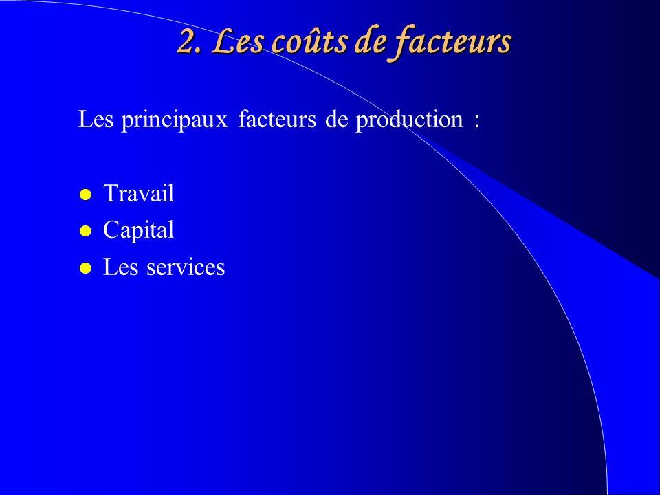 2. Les coûts de facteurs Les principaux facteurs de production : l Travail l Capital l Les services