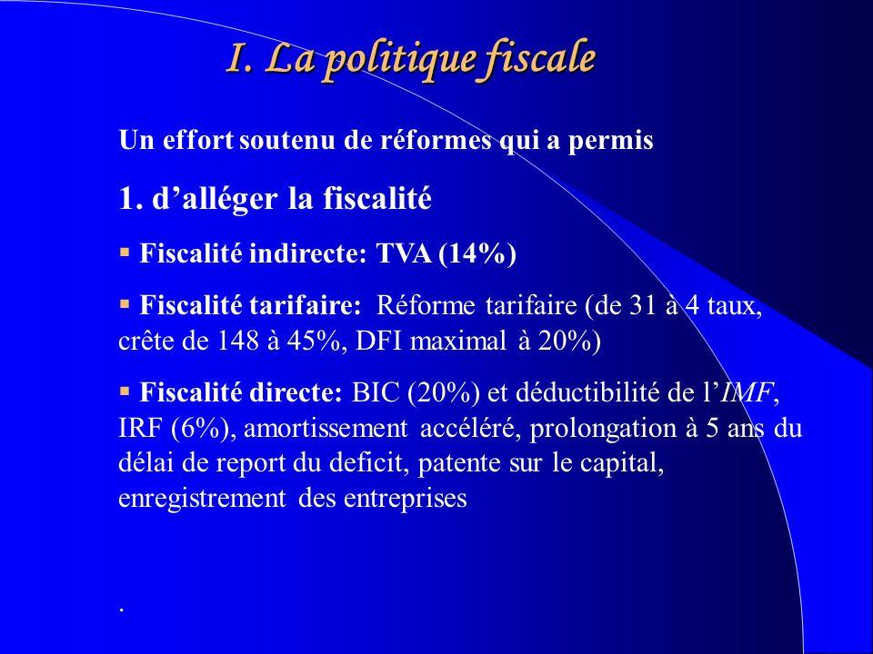 I. La politique fiscale Un effort soutenu de réformes qui a permis 1.