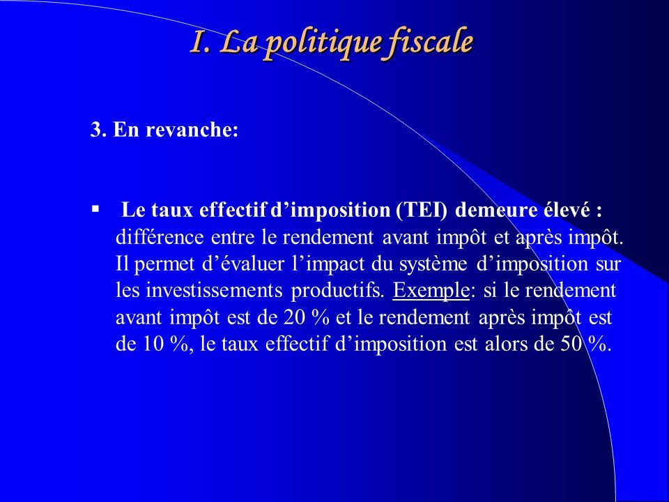 I. La politique fiscale 3.