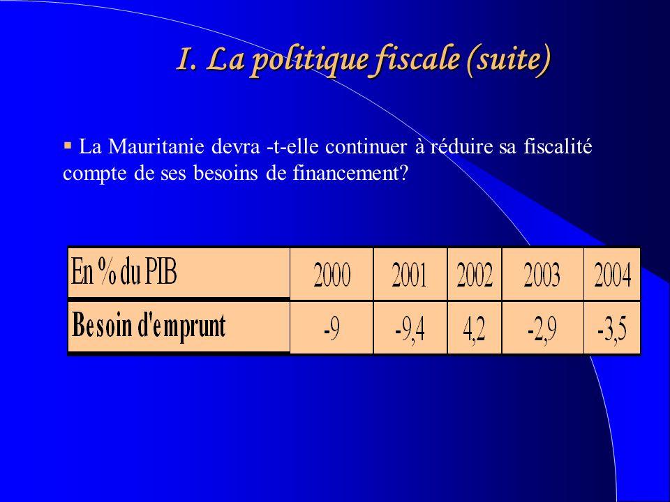 I. La politique fiscale (suite) La Mauritanie devra -t-elle continuer à réduire sa fiscalité compte de ses besoins de financement?