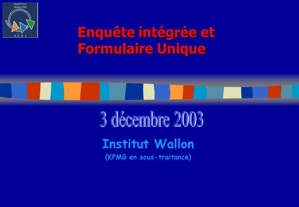 Enquête intégrée et Formulaire Unique Institut Wallon (KPMG en sous-traitance)