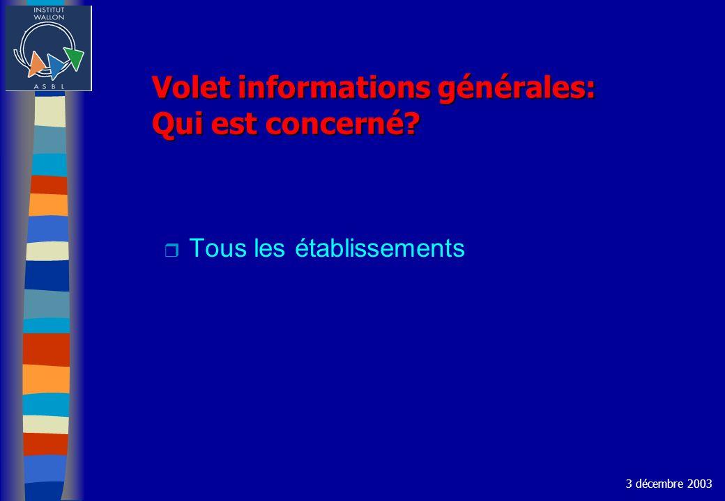 Volet informations générales: Qui est concerné? r Tous les établissements 3 décembre 2003