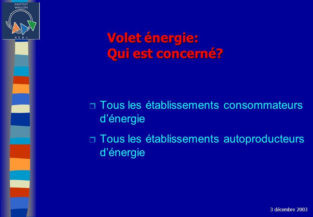 Volet énergie: Qui est concerné? r Tous les établissements consommateurs dénergie r Tous les établissements autoproducteurs dénergie 3 décembre 2003
