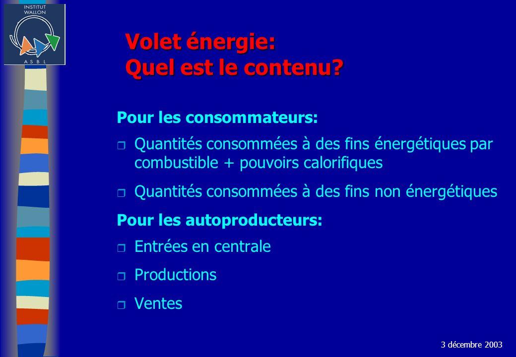 Volet énergie: Quel est le contenu? Pour les consommateurs: r Quantités consommées à des fins énergétiques par combustible + pouvoirs calorifiques r Q