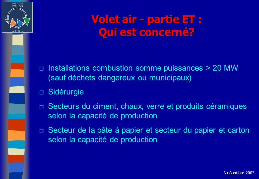 Volet air - partie ET : Qui est concerné? r Installations combustion somme puissances > 20 MW (sauf déchets dangereux ou municipaux) r Sidérurgie r Se