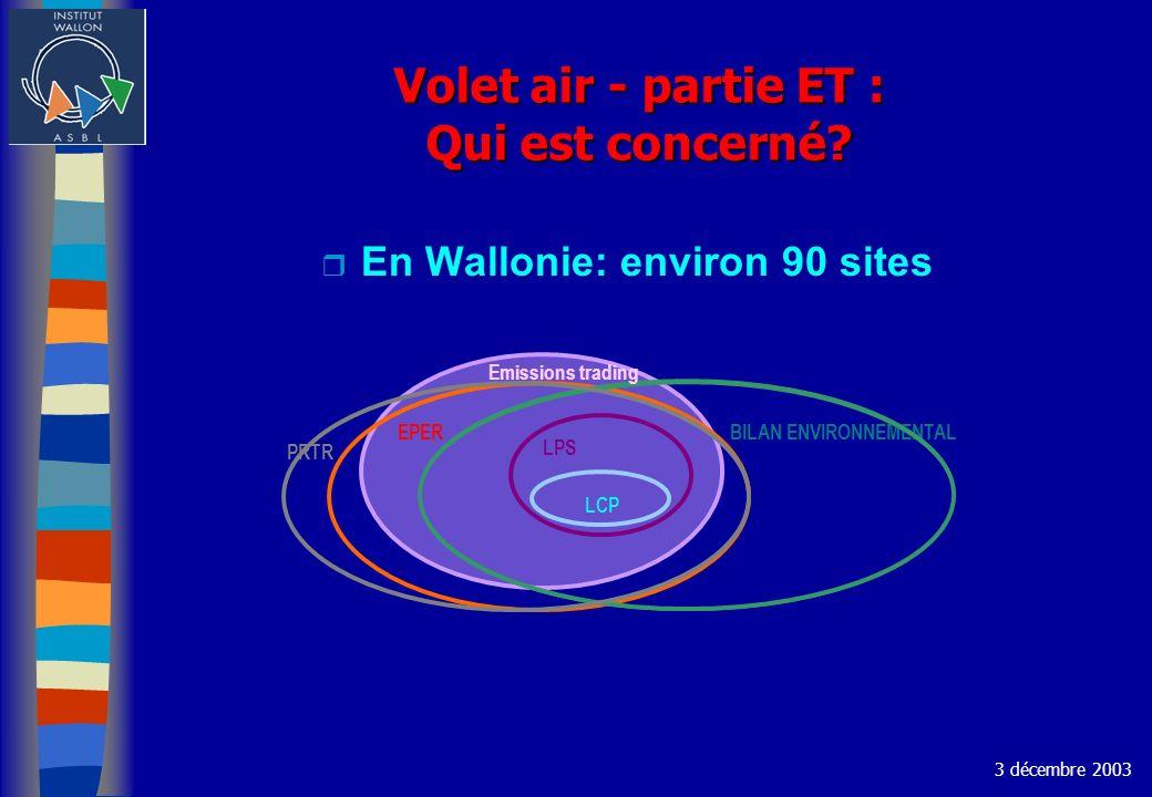 Volet air - partie ET : Qui est concerné? r En Wallonie: environ 90 sites 3 décembre 2003 EPER BILAN ENVIRONNEMENTAL LPS PRTR LCP Emissions trading