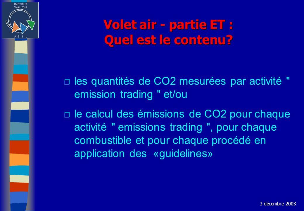 Volet air - partie ET : Quel est le contenu? r les quantités de CO2 mesurées par activité