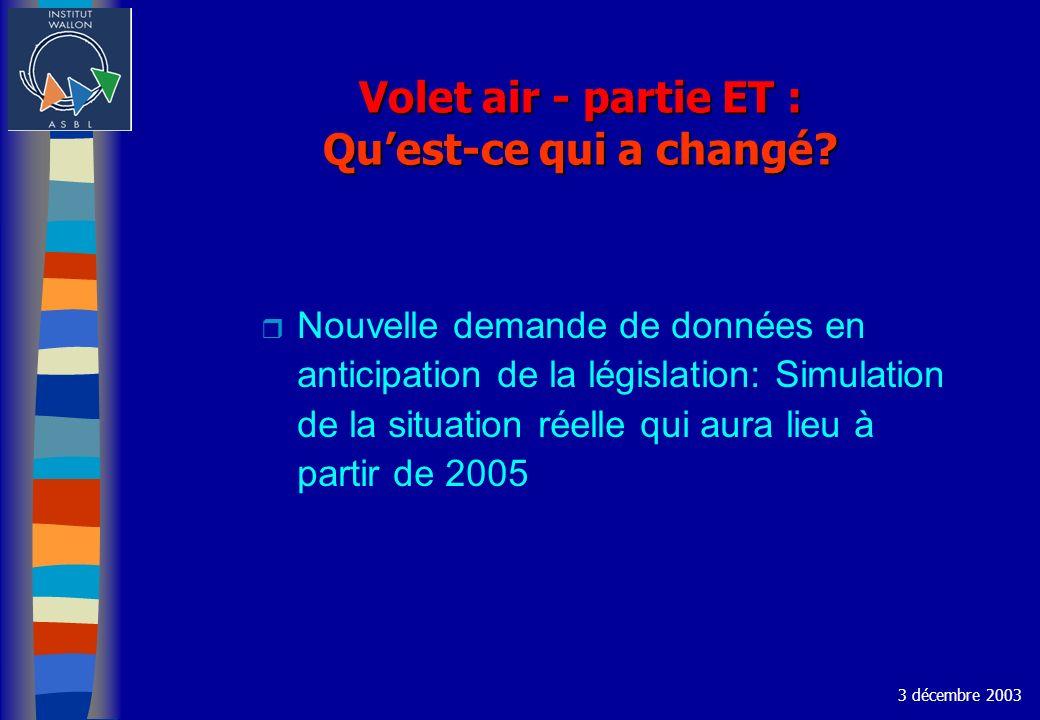 Volet air - partie ET : Quest-ce qui a changé? r Nouvelle demande de données en anticipation de la législation: Simulation de la situation réelle qui