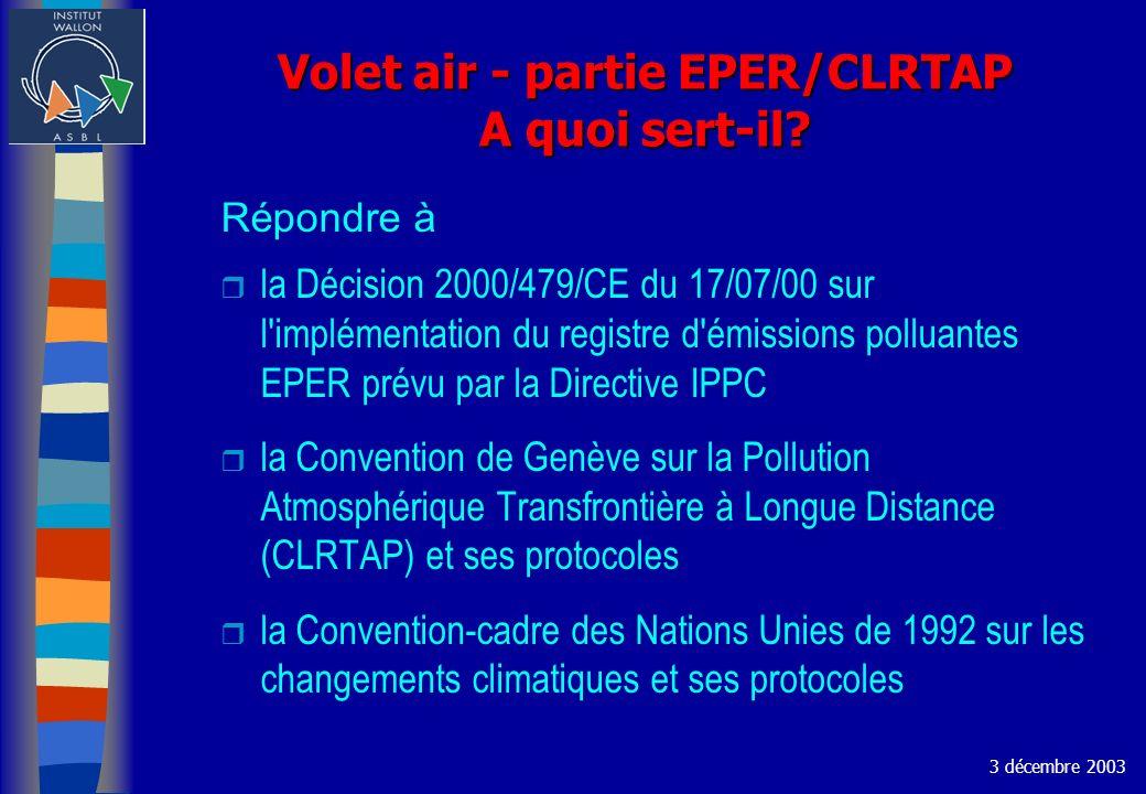 Volet air - partie EPER/CLRTAP A quoi sert-il? Répondre à r la Décision 2000/479/CE du 17/07/00 sur l'implémentation du registre d'émissions polluante