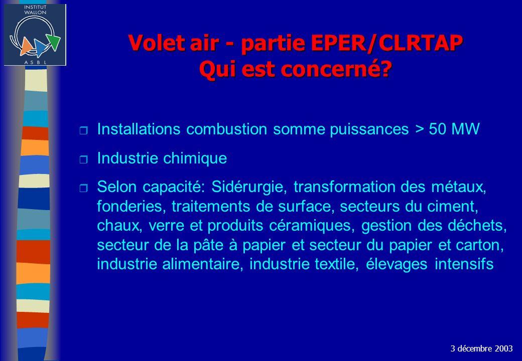 Volet air - partie EPER/CLRTAP Qui est concerné? r Installations combustion somme puissances > 50 MW r Industrie chimique r Selon capacité: Sidérurgie