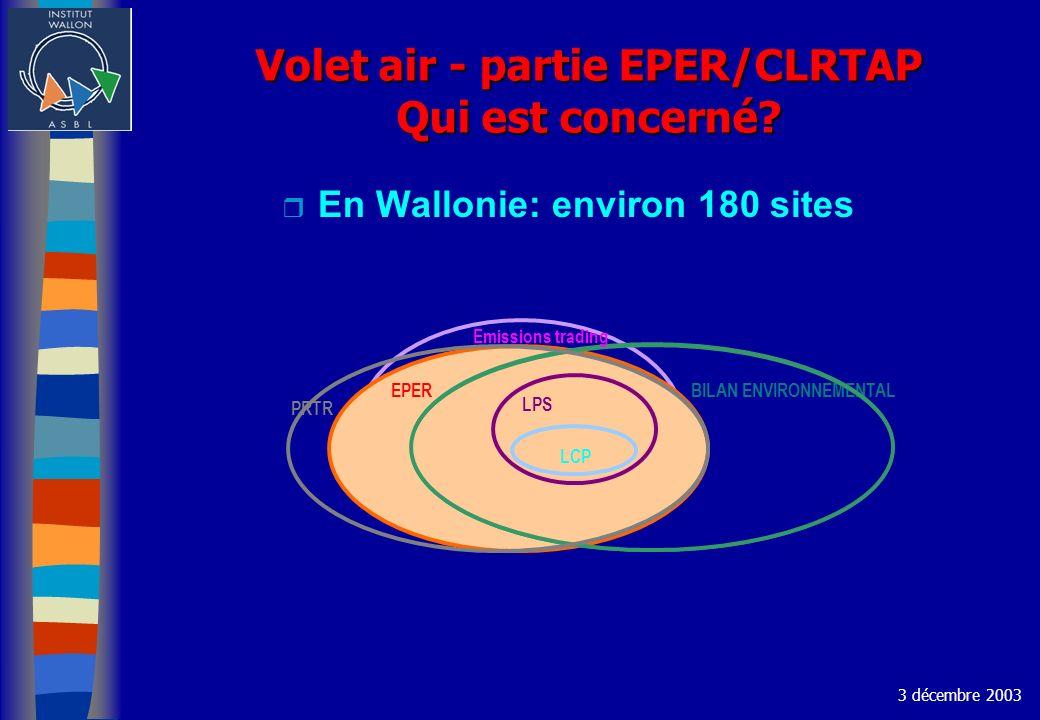 Volet air - partie EPER/CLRTAP Qui est concerné? r En Wallonie: environ 180 sites 3 décembre 2003 EPER BILAN ENVIRONNEMENTAL LPS PRTR LCP Emissions tr