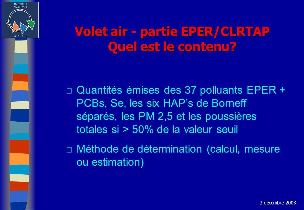 Volet air - partie EPER/CLRTAP Quel est le contenu? r Quantités émises des 37 polluants EPER + PCBs, Se, les six HAPs de Borneff séparés, les PM 2,5 e