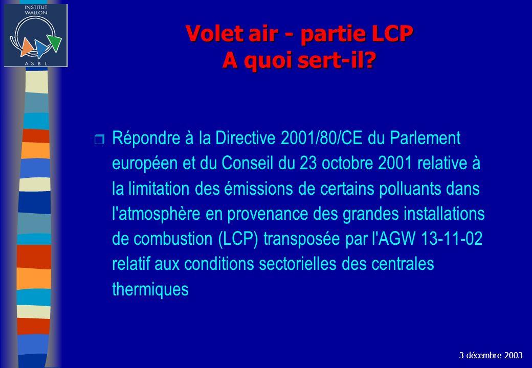 Volet air - partie LCP A quoi sert-il? Répondre à la Directive 2001/80/CE du Parlement européen et du Conseil du 23 octobre 2001 relative à la limitat
