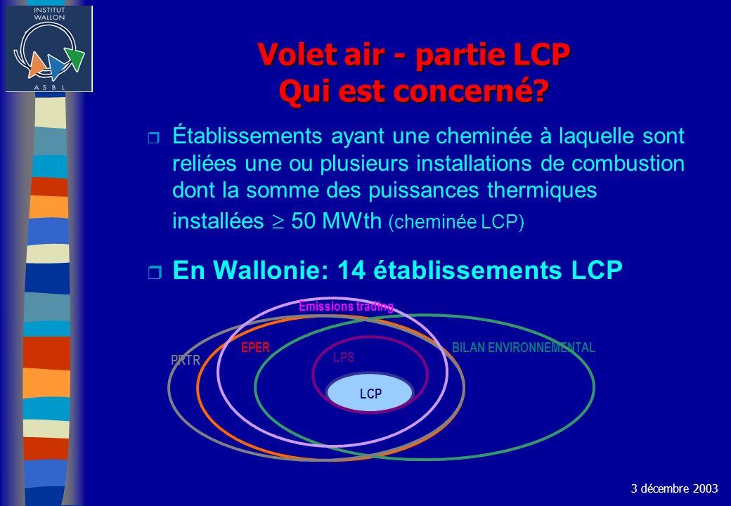 Volet air - partie LCP Qui est concerné? r Établissements ayant une cheminée à laquelle sont reliées une ou plusieurs installations de combustion dont