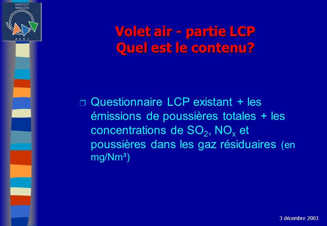 Volet air - partie LCP Quel est le contenu? r Questionnaire LCP existant + les émissions de poussières totales + les concentrations de SO 2, NO x et p