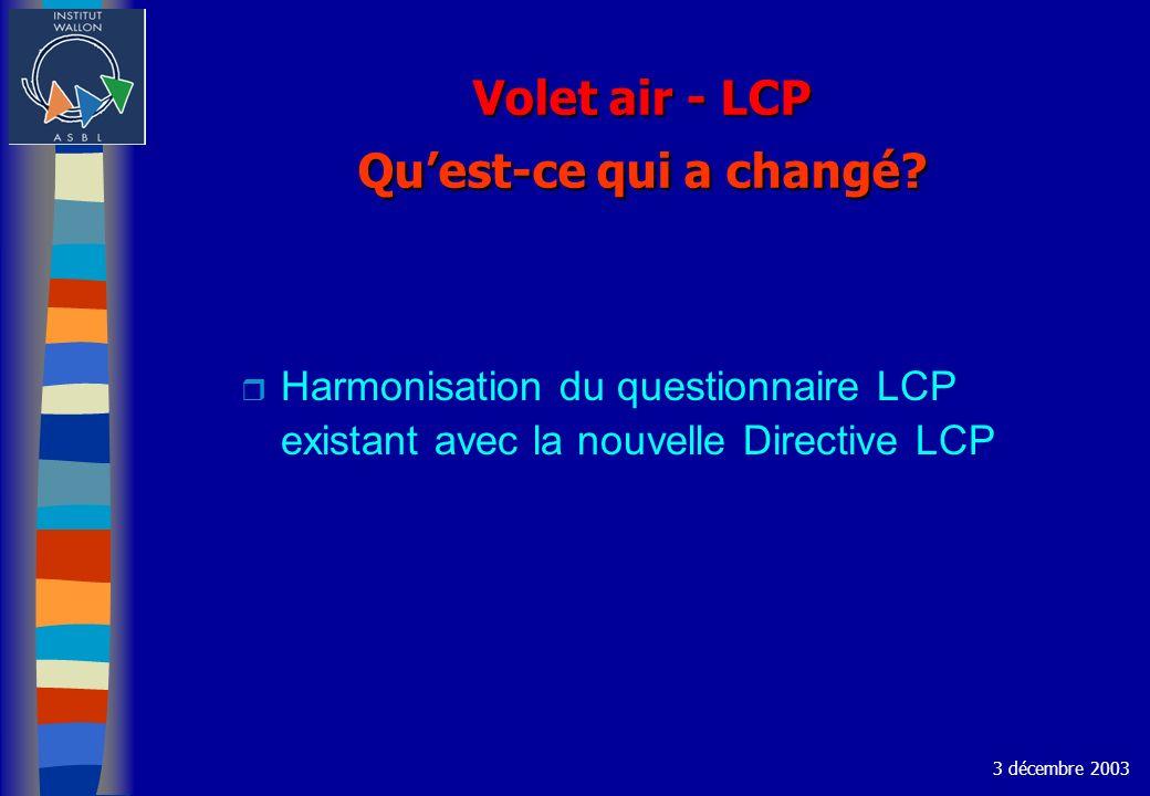 Volet air - LCP Quest-ce qui a changé.
