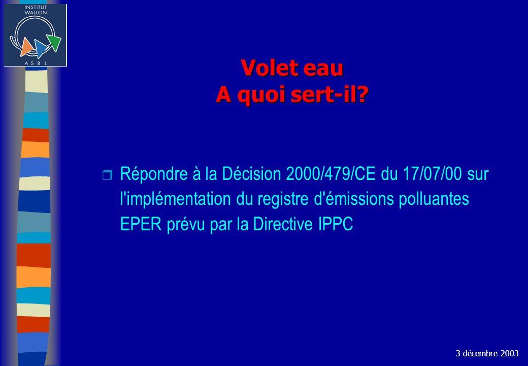 Volet eau A quoi sert-il? r Répondre à la Décision 2000/479/CE du 17/07/00 sur l'implémentation du registre d'émissions polluantes EPER prévu par la D