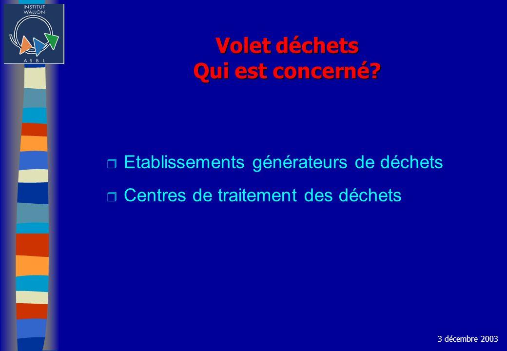 Volet déchets Qui est concerné? r Etablissements générateurs de déchets r Centres de traitement des déchets 3 décembre 2003