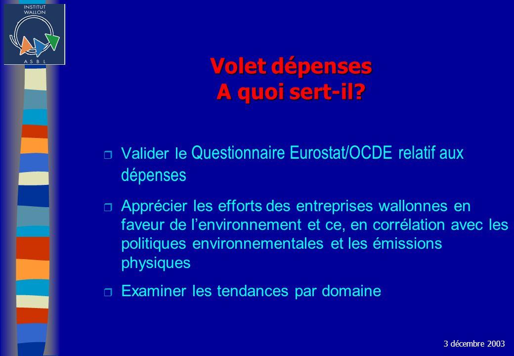 Volet dépenses A quoi sert-il? Valider le Questionnaire Eurostat/OCDE relatif aux dépenses r Apprécier les efforts des entreprises wallonnes en faveur