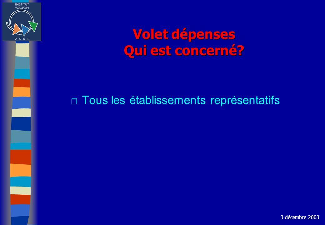 Volet dépenses Qui est concerné? r Tous les établissements représentatifs 3 décembre 2003