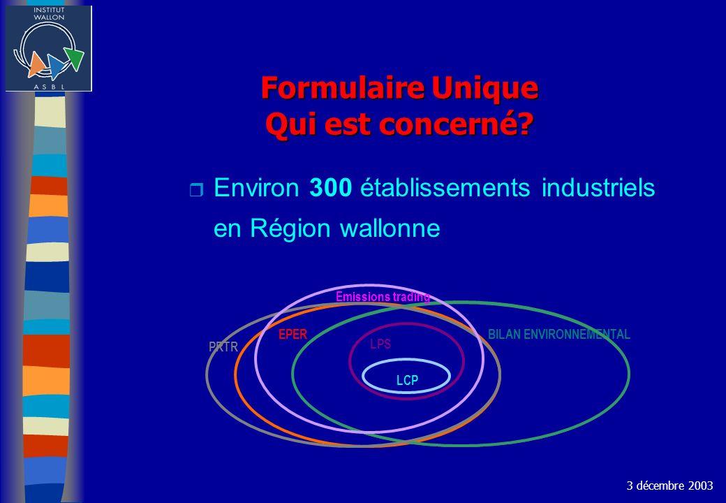 Formulaire Unique Qui est concerné? r Environ 300 établissements industriels en Région wallonne 3 décembre 2003 EPER BILAN ENVIRONNEMENTAL LPS PRTR LC