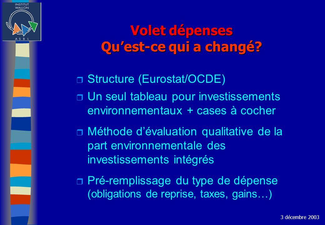Volet dépenses Quest-ce qui a changé? r Structure (Eurostat/OCDE) r Un seul tableau pour investissements environnementaux + cases à cocher r Méthode d