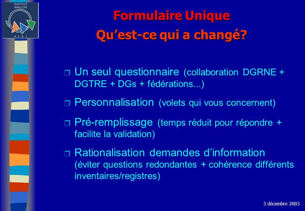 Formulaire Unique Quest-ce qui a changé? r Un seul questionnaire (collaboration DGRNE + DGTRE + DGs + fédérations...) r Personnalisation (volets qui v