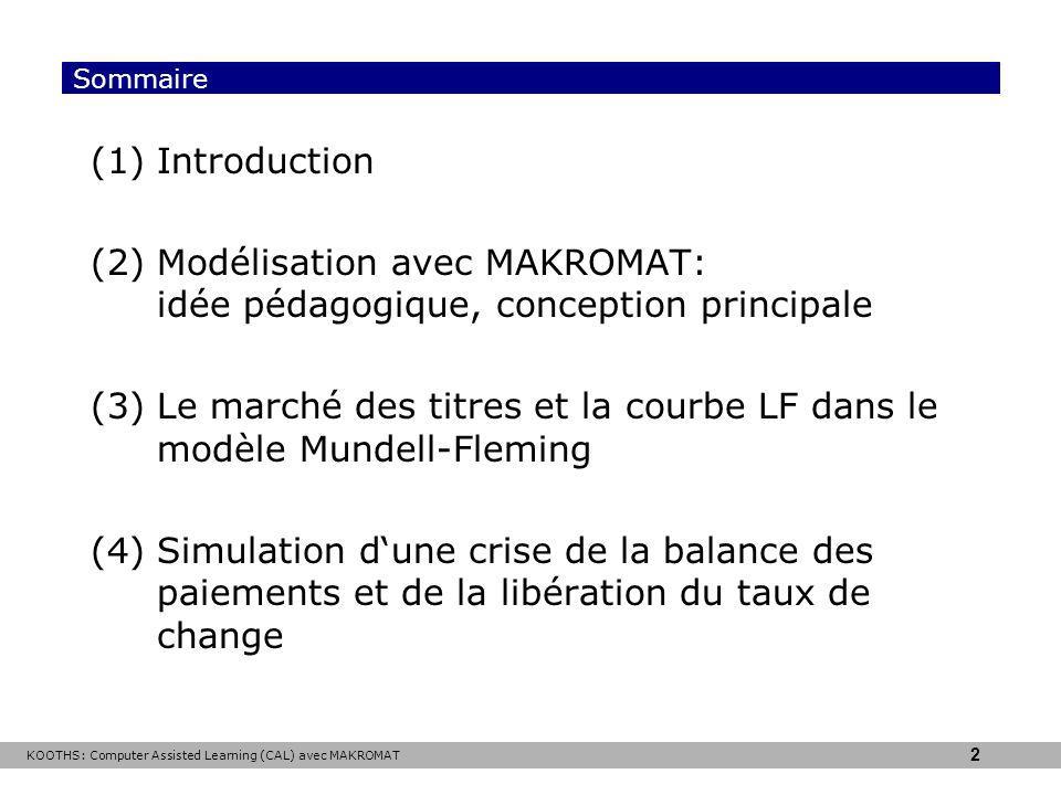 KOOTHS: Computer Assisted Learning (CAL) avec MAKROMAT 2 Sommaire (1)Introduction (2)Modélisation avec MAKROMAT: idée pédagogique, conception principale (3)Le marché des titres et la courbe LF dans le modèle Mundell-Fleming (4)Simulation dune crise de la balance des paiements et de la libération du taux de change