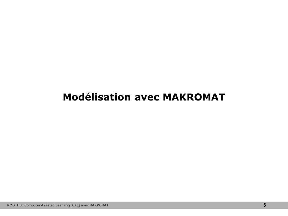 KOOTHS: Computer Assisted Learning (CAL) avec MAKROMAT 6 Modélisation avec MAKROMAT