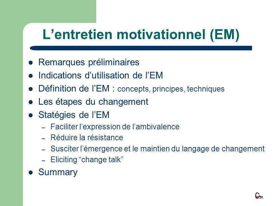Lentretien motivationnel (EM) Remarques préliminaires Indications dutilisation de lEM Définition de lEM : concepts, principes, techniques Les étapes d
