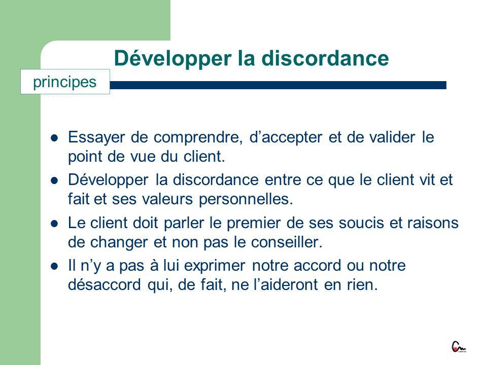 Développer la discordance Essayer de comprendre, daccepter et de valider le point de vue du client. Développer la discordance entre ce que le client v