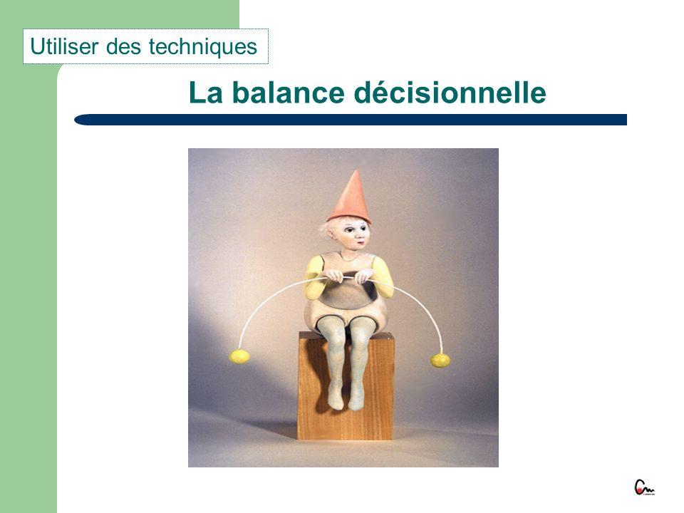 La balance décisionnelle Utiliser des techniques