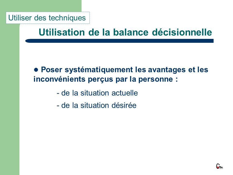 Utilisation de la balance décisionnelle Poser systématiquement les avantages et les inconvénients perçus par la personne : - de la situation actuelle