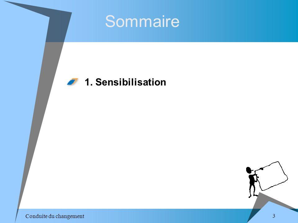 Conduite du changement 3 Sommaire 1. Sensibilisation