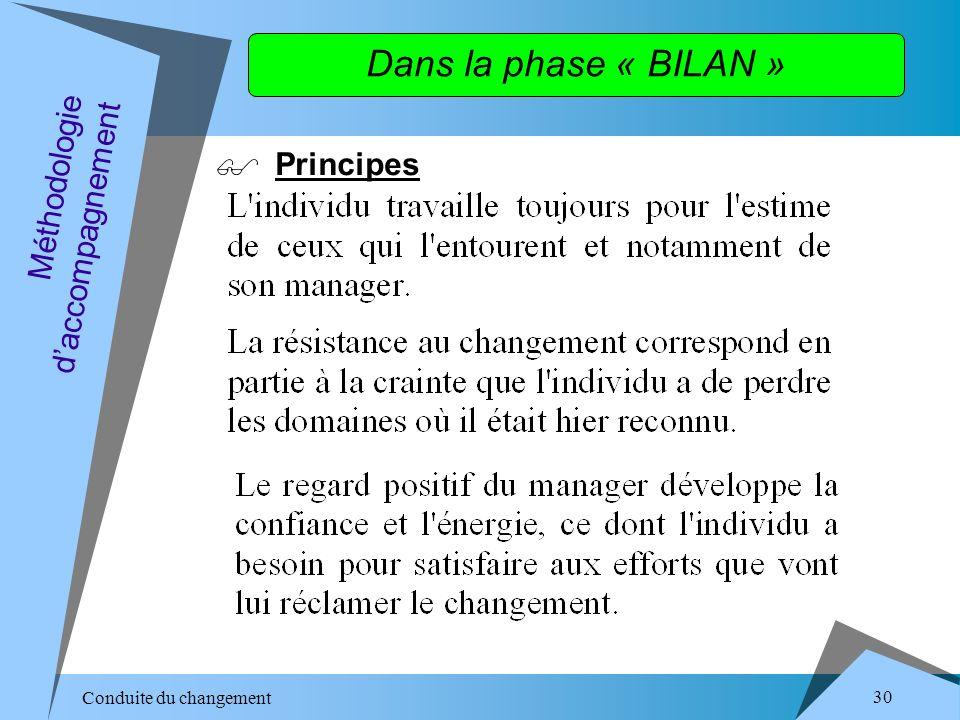Conduite du changement 30 Dans la phase « BILAN » Principes Méthodologie daccompagnement