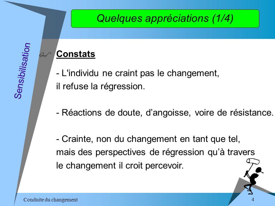 Conduite du changement 5 Quelques appréciations (2/4) - Rupture en termes de visions « A travers le changement on me demande de voir le monde différemment » Sensibilisation - Rupture en termes de savoir-faire « On moblige à renoncer à mes habitudes pour apprendre à faire autrement.