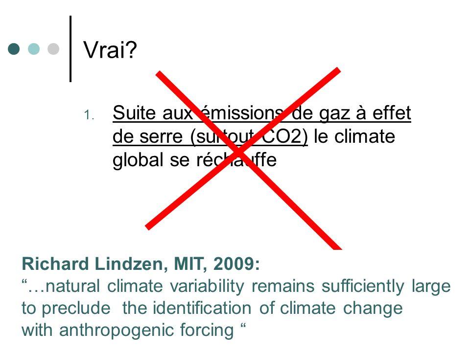 18 Vrai? 1. Suite aux émissions de gaz à effet de serre (surtout CO2) le climate global se réchauffe Richard Lindzen, MIT, 2009: …natural climate vari
