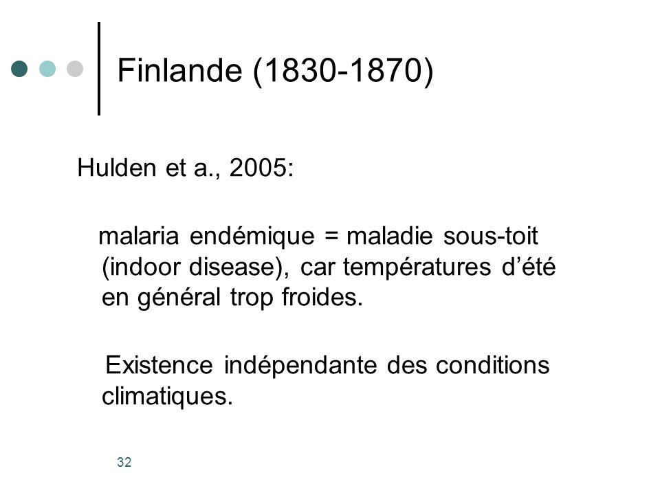 32 Finlande (1830-1870) Hulden et a., 2005: malaria endémique = maladie sous-toit (indoor disease), car températures dété en général trop froides. Exi