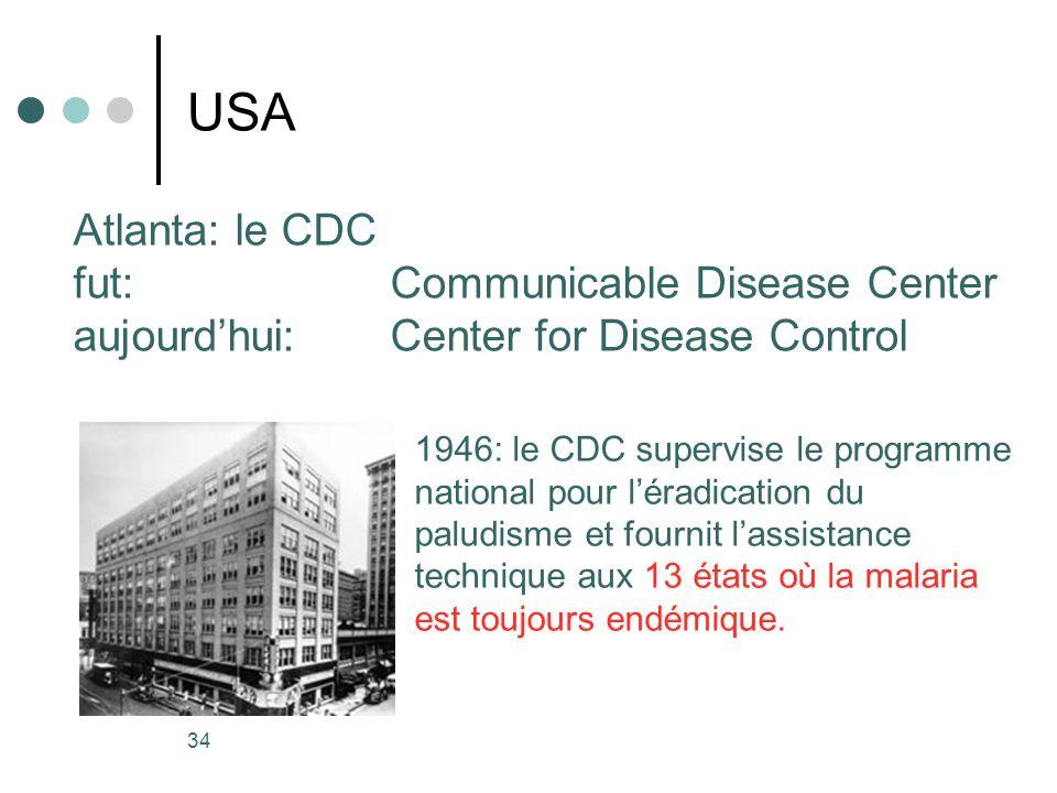 34 USA Atlanta: le CDC fut: Communicable Disease Center aujourdhui: Center for Disease Control 1946: le CDC supervise le programme national pour lérad