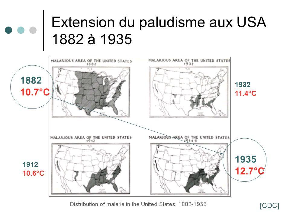35 Extension du paludisme aux USA 1882 à 1935 1882 10.7°C 1912 10.6°C 1932 11.4°C 1935 12.7°C [CDC]