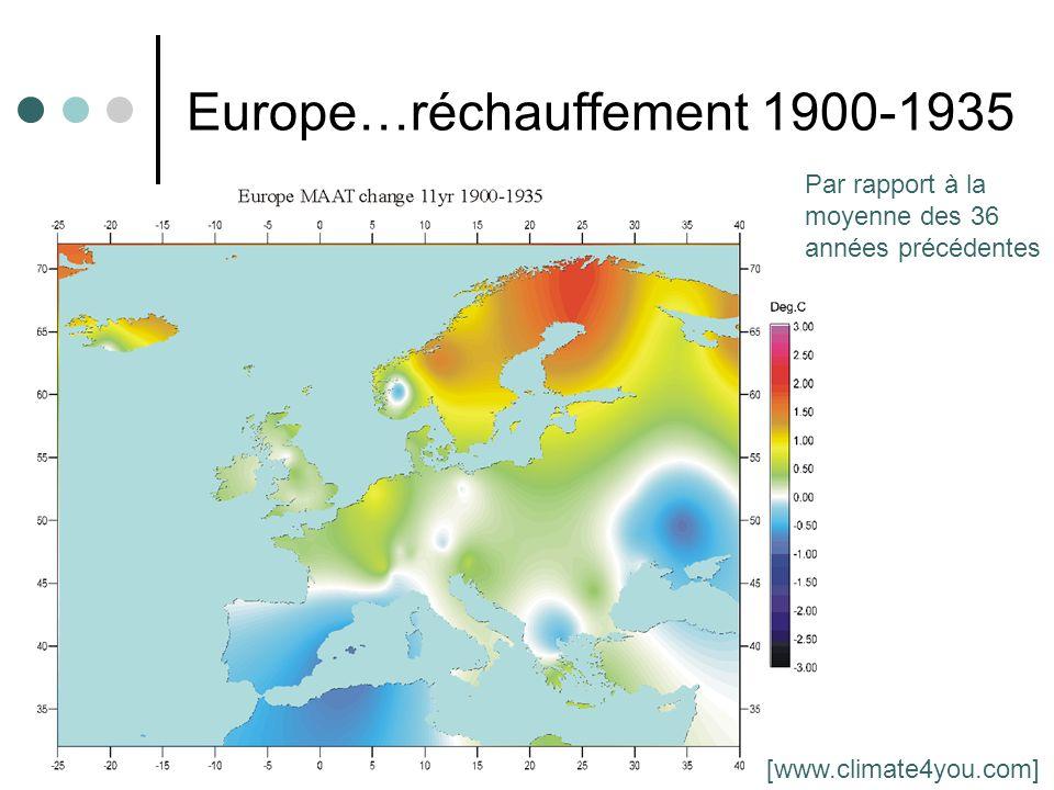 6 Europe…réchauffement 1900-1935 Par rapport à la moyenne des 36 années précédentes [www.climate4you.com]