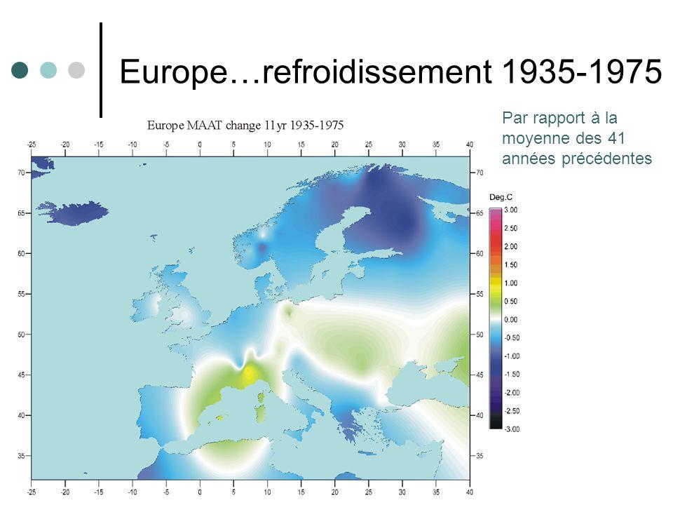 7 Europe…refroidissement 1935-1975 Par rapport à la moyenne des 41 années précédentes