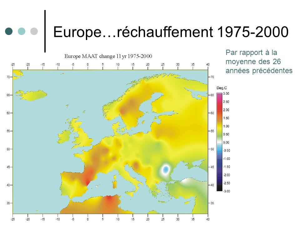 8 Europe…réchauffement 1975-2000 Par rapport à la moyenne des 26 années précédentes