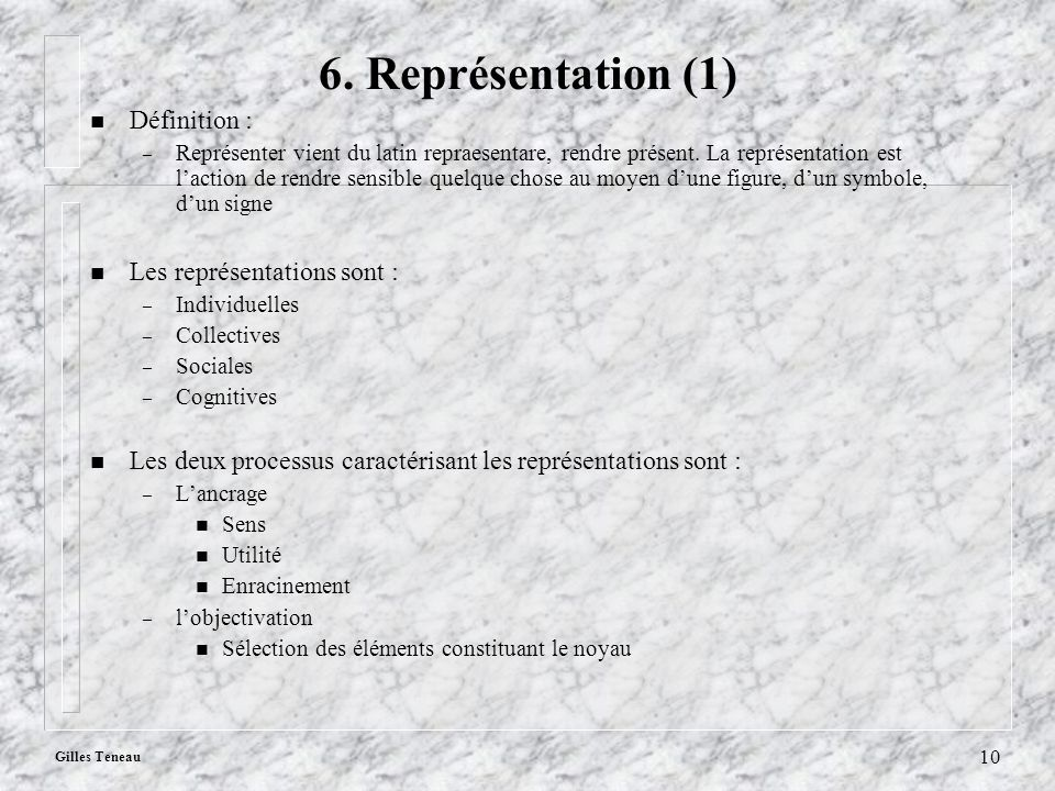 Gilles Teneau 10 6. Représentation (1) n Définition : – Représenter vient du latin repraesentare, rendre présent. La représentation est laction de ren