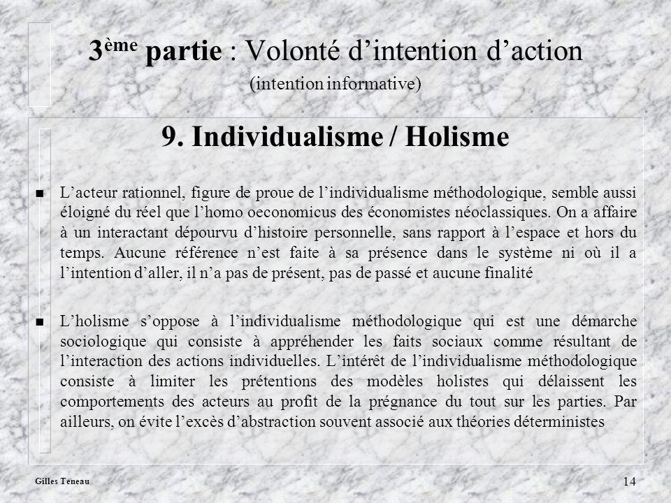 Gilles Teneau 14 3 ème partie : Volonté dintention daction (intention informative) 9. Individualisme / Holisme n Lacteur rationnel, figure de proue de