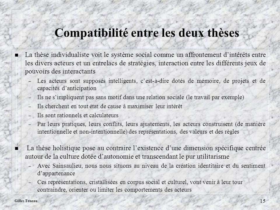Gilles Teneau 15 Compatibilité entre les deux thèses n La thèse individualiste voit le système social comme un affrontement dintérêts entre les divers