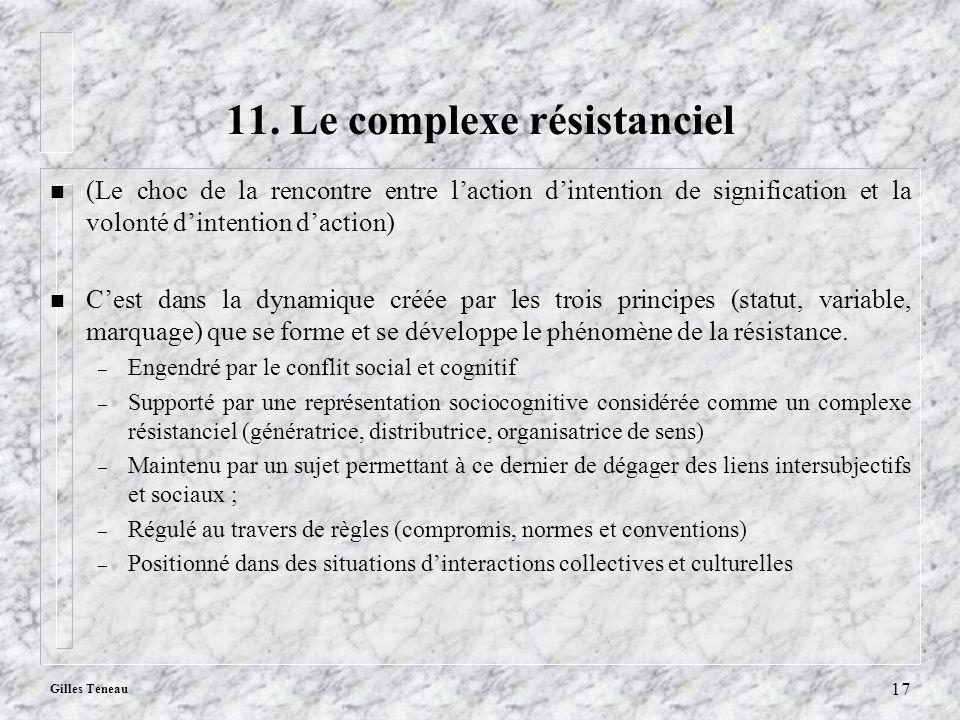 Gilles Teneau 17 11. Le complexe résistanciel n (Le choc de la rencontre entre laction dintention de signification et la volonté dintention daction) n