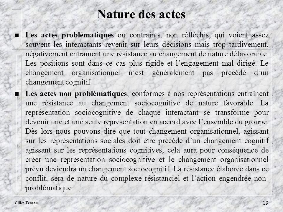 Gilles Teneau 19 Nature des actes n Les actes problématiques ou contraints, non réfléchis, qui voient assez souvent les interactants revenir sur leurs